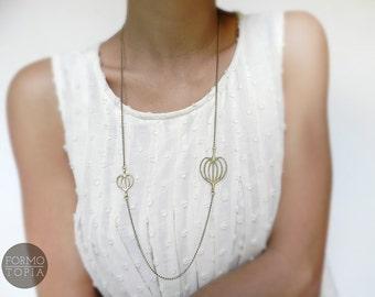 Necklace golden necklace brass leaf linden leaf