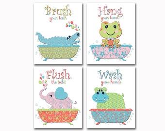 Neutral bathroom wall art twins bath decor elephant frog crocodile artwork baby girl poster boy print Brush Wash flush decoration Kids rules