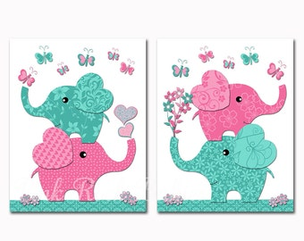 Elephant Baby girl nursery wall art kids room decor playroom artwork toddler poster newborn shower gift turquoise pink by Pink Rock Babies