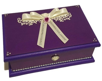 Violet Purple Wedding Keepsake Box