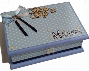 Baby Boy Personalised Box, Keepsake Box, Treasure Box, Trinket Box, Personalised Box, Baby Box, Christening Box - Blue & White