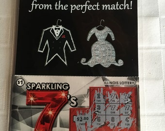 Exclusive Wedding Lottery Ticket Holder Favors Only At Adornibles (Mr. and Mrs. Tux/Dress) Pack of 25