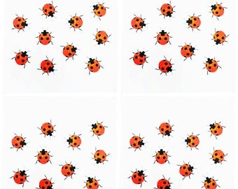 Set of 4 Ladybird Napkins - Cotton Reusable Serviettes