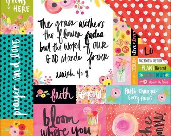 Illustrated Faith She Blooms art print 12x12 paper