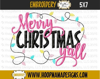 Merry Christmas Y'all 4x4 5x7 6x10 Machine Applique Embroidery Design pes jef dst hus vip vp3 xxx exp pec