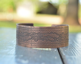 Etched Copper Cuff - Small