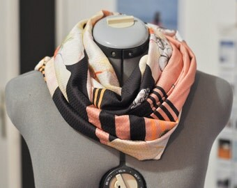 Infinity scarf scarf Brown and yellow floral