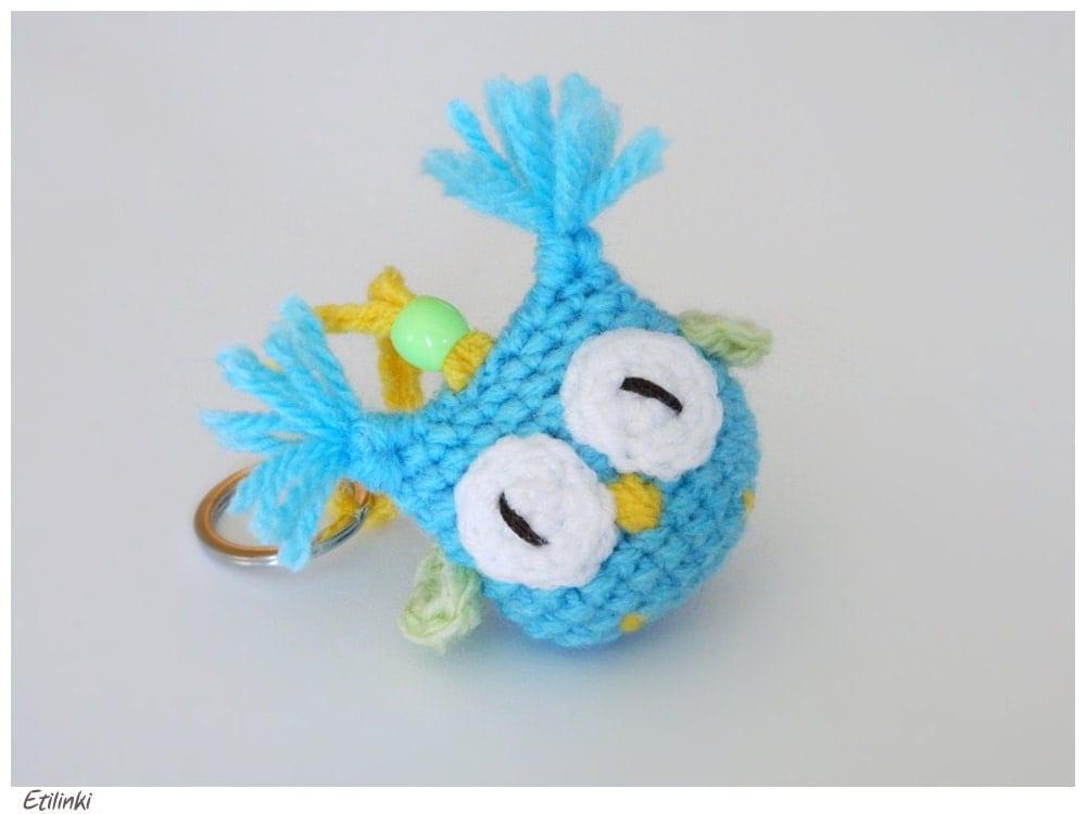Amigurumi Owl Keychain : Crochet Owl Keychain in Blue Green Yellow Amigurumi Eule