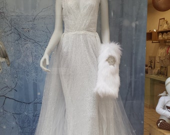 Removable bride Faerie tulle sequins and chiffon, with train dress.