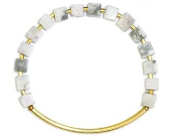 Cube bracelet with harmony of Jasper - geometric bracelet - elastic bracelet - HOPE