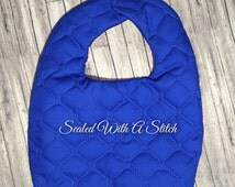 Blue Bib, Quilted, Monogram or Embroidery Included