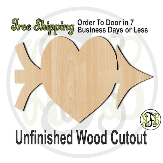 Cupid's Heart - 110010- Valentine Cutout, unfinished, wood cutout, wood craft, laser cut shape, wood cut out, Door Hanger, wooden, wall art