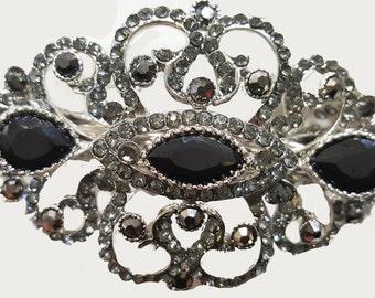 New Art Deco Antique Silver & Black Rhinestones  Metal 2 '' Hair Barrette