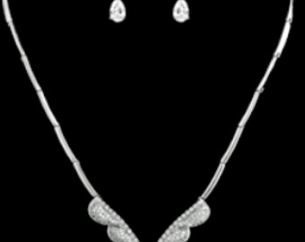 New Art Deco CZ Marquis Crystal & Rhinestone Necklace and Pierced Earring Set