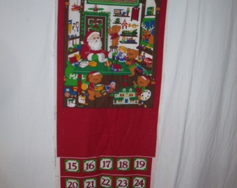 A Beary Merry Christmas Santas Workshop wallhanging or pocket calendar to sew 10 days before x-mas
