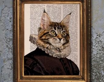 Dictionary Page Print Noble Gentleman Maine Coone cat renaissance portrait, Vintage Dictionary Art Print, Wall Decor, Mixed Media, cat print