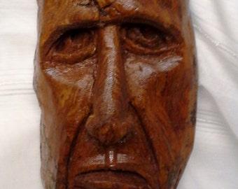 Cottonwod Bark Hand Carved Frankenstein Monster Wood Carving