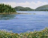 Sorrento Harbor, Maine - Coastal Wildflowers - Maine Seascape Painting - Original Painting by Beth Whitney