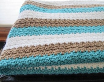 White, Brown, Teal Moss Baby Blanket