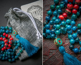 LHASA MALA necklace with silk tassel and NEPALESE beads / chrysocolla bones coral / Yoga Necklace