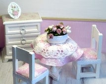 1:6 Wooden dolls furniture BJD Doll chair Table Chest of drawers Bouquet in Vase Picture Shabby chic Barbie Monster high Blythe