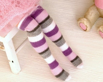 Knee Blythe Socks Pullip clothes Azone High stockings Colorful Stripes Socks Azone Doll Clothes Doll Clothing