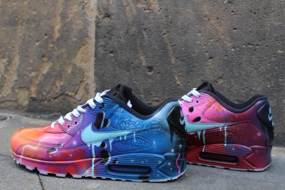 pretty nice b84f6 30982 ... low price nike air max 90 blue galaxy style painted custom shoes  sneaker airbrush kicks rare