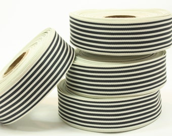5yards Black & Ivory striped ribbon