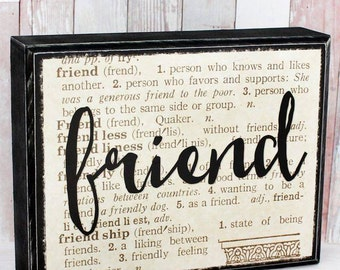 Friend Dictionary Block Art