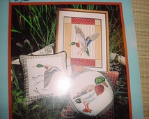 Vintage 1983 Mallard Duck Cross Stitch Needlepoint Pattern Booklet with 7 Designs; Ducks in Water; Flying Duck Pillow Design; Embroidery