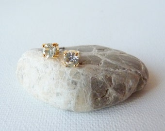 Vintage Gold Rhinestone Earrings, Small Gold Tone Crystal ,Post Stud Crystal Earrings, Back Post Gold Tone Earrings,Christmas, FREE SHIPPING