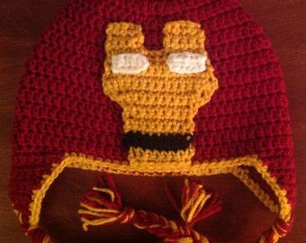 Crochet Iron Man Hat/ Any Size
