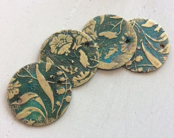 "Verdigris brass embossed floral charms 1"" 4 pc"