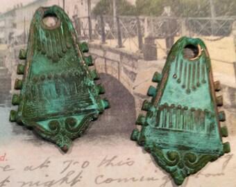 ART NOUVEAU  verdigris brass pendants 2pc