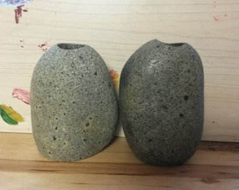 Grey speckle pack! Grey colored Stone Vase Striped from Maine's coast