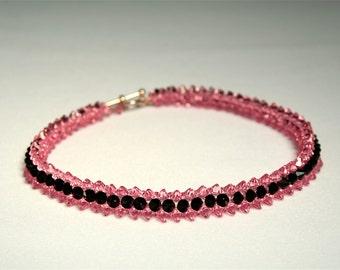 Pink Tuxedo Swarovski Crystal Woven Plus Size Choker or Necklace