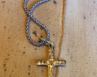 Sterling Silver popcorn chain and cross