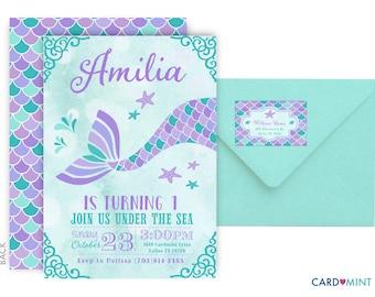 PRINTED Mermaid Birthday Invitations Teal Aqua and Purple Little Mermaid Silhouette Theme Swim Party girl Teal Invitations Purple NV746