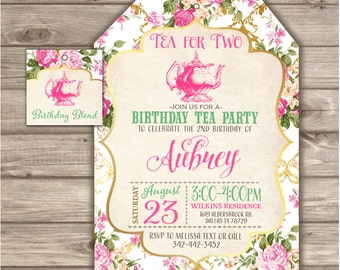 Tea For Two 2nd Birthday Invitations Second Party Theme Bag Pink