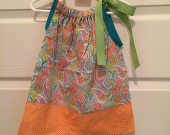 Teal and Orange Paisley Pillowcase Dress