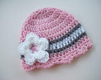 Newborn Beanie, Ready to Ship, Crochet Baby Hat, Newborn Photo Prop, Baby Girl Hat, Baby Shower Gift, Baby Hat, Baby Girl Beanie, Baby Girl