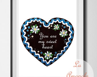 Bavarian heart, lebkuchen heart, wedding gift, personalised heart, personalized wall decor, German style, art print unframed, lettering