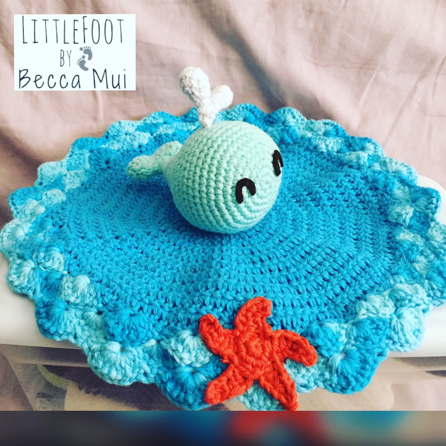 Free Crochet Whale Baby Blanket Pattern : Crochet Whale Security Blanket Lovey by LittleFootByBeccaMui