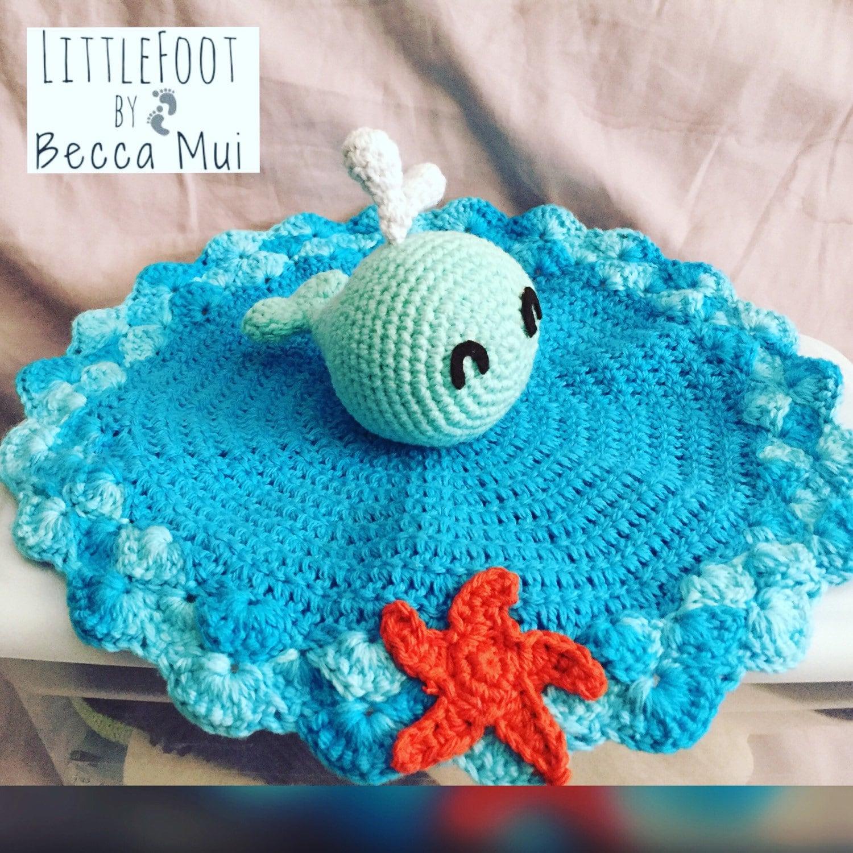 Free Crochet Whale Baby Blanket Pattern : Crochet Whale Security Blanket Lovey by LittleFootByBeccaMui