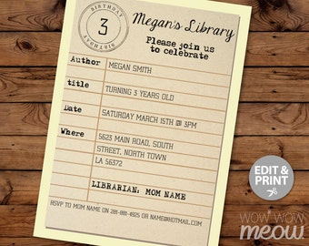Library Card Invite Etsy