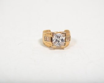 Vintage 925 Sterling Silver Gold Tone with Cubic Zirconias Statement Ring