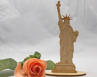 Statue of Liberty Wooden standing with foot as gift finely worked laser cut