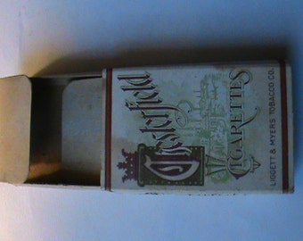 RARE 1920S Chesterfield cigarette box with tax stamp old tobacco collectible