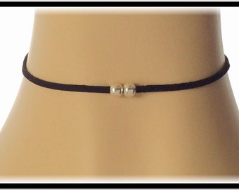 Two beaded choker necklace, silver beads on thin cord, simple suede leather choker jewelry, women's beaded black necklace.
