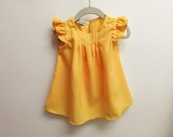Yellow Toddler Dress, Flutter Sleeve Dress, Yellow Baby Dress, Yellow Dress, Easter Dress, Summer Girls Dress, Cotton Dress